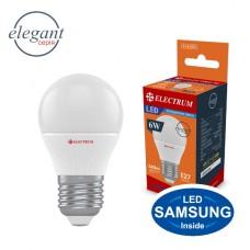 Лампа светодиодная шар ELECTRUM 6W E27 4000K  A-LB-0751