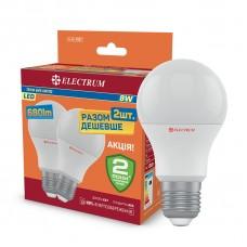 Комплект ламп светодиодных стандартных ELECTRUM 8W E27 3000K 2шт. A-LS-1887
