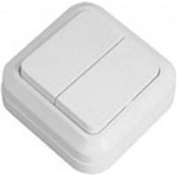 Выключатель двухклавишный накладной ELM белый Simply   41-0003
