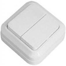 Выключатель двухклавишный накладной белый Simply 41-0003 ELM