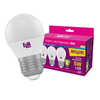 Лампа светодиодная шар ELM 5W E27 4000K Комплект 3шт 18-0100