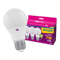 Комплект ламп светодиодных стандартных  ELM 7W E27 4000K  3шт. 18-0140