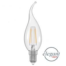 Лампа светодиодная свеча на ветру ретро 4W E14 4000K ELECTRUM A-LC-1368 прозрачный стеклянный корпус
