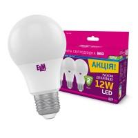 Комплект ламп светодиодных стандартных B60 PA10 12W E27 4000K 3шт. 18-0152