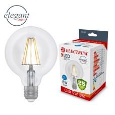 Лампа светодиодная глоб-ретро 8W E27 4000K ELECTRUM прозрачный стеклянный корпус  A-LG-1426
