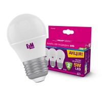 Лампа светодиодная шар 5W E27 4000K Комплект 3шт 18-0157