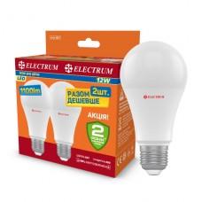 Лампа светодиодная стандартная ELECTRUM12W E27 3000K Комплект 2шт A-LS-1876