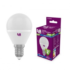 Лампа светодиодная шар ELM 5W E14 4000K 18-0046