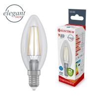 Лампа светодиодная свеча ретро прозрачный стеклянный корпус ELECTRUM 4W E14 4000K A-LC-1367