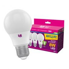 Лампа светодиодная стандартная B55 8W E27 4000K Комплект 3шт. 18-0169