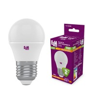Лампа светодиодная шар ELM 5W E27 3000K 18-0086